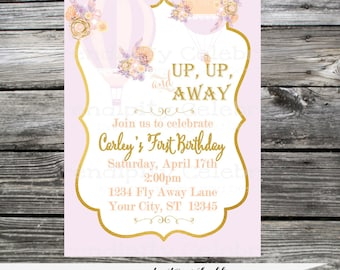 Hot Air Balloon Invitation, Birthday Invite, Baby Shower Invitation, Bridal Shower, Up Up and Away,  Printed Invitation,  Gold, Lilac, Peach