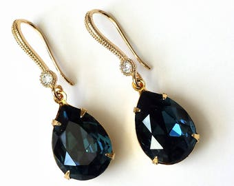 Dark Sapphire Teardrop Earrings Swarovski Dark Blue Drop Earrings Dark Sapphire Art Deco Gold Drop Earrings Blue and Gold Earrings