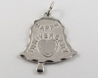 Happy Anniversary in Bell Shape Sterling Silver Charm of Pendant.