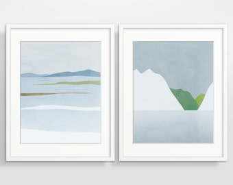 Wall Art Set, Scandinavian Prints, Modern Abstract Art Print Set, Living Room Decor, Abstract Landscape, Set of 2
