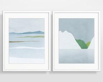 Wand Kunst Set, skandinavischen Drucke, moderne abstrakte Kunst Druck Set, Wohnzimmer Dekor, abstrakte Landschaft 2