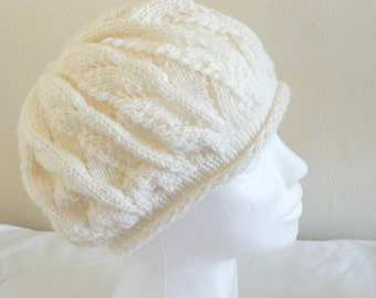 Knitting PATTERN Slouchy HAT Beanie Tam - Wimbledon Slouch Hat - Instant Digital Download