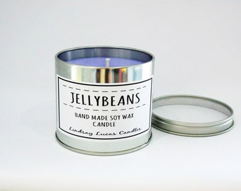 Jellybeans Candle, Sweet Scented Candle, Scented Candle, Tin Candle, Foody Candle, Jellybeans Scent, Large Candle, Strong Candle