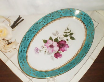 Vintage oval porcelain tray/Decorated gold/Czechoslovakia Around 1950s