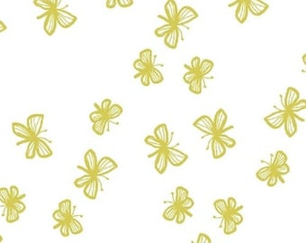 Stella - Faril Butterflies in Citrus - Yellow Gold Butterfly Cotton Quilt Fabric - by Lotta Jansdotter for Windham Fabrics - 40690-2 (W4202)