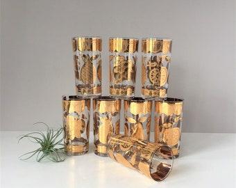 Set of 8 Culver Highball Glasses, Vintage Cocktail Glasses, 22 Kt Gold Fruit Florentine Pattern, Bar Glassware, Retro Bar Cart Decor Tumbler