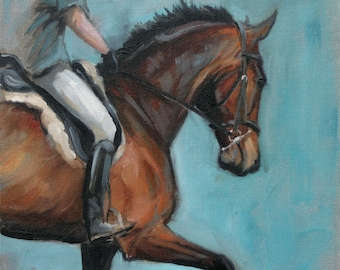 Beautiful Equine horse LE dressage horse art horse gift horse lover gift print 'Schooling IV' from an original oil wall art home decor