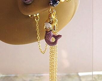 Purple Mermaid Ear Cuff - Purple Mermaid Earrings - Nautical Ear Cuff Earrings - Ocean Ear Cuff - Mermaid Cuff Earring - Purple Cuff Earring