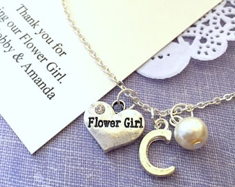 Personalized, flowergirl, flower girl, child, necklace. Comes with personalized card and ORGANZA bag.