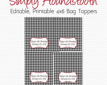 Houndstooth Wedding Favors, Bridal Shower Favor, Treat Bag Topper, Graduation Party, Black and White, Red Accent -- Editable, Printable