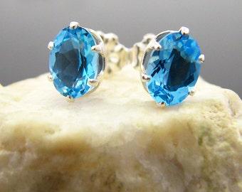 Swiss topaz earring, sterling silver stud earings with swiss blue topaz, swiss blue studs 7x5 mm oval