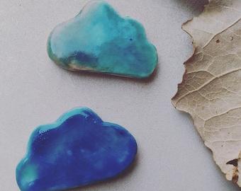 Brooch, cloud, ceramics, for her, for girls, for girls