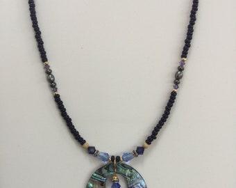 Blue Hawaii abalone necklace set