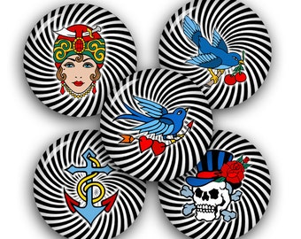 Old Tattoo Style Pinback button Images 1.75 inch for 2.088 buttons Digital Collage Sheet Instant Download