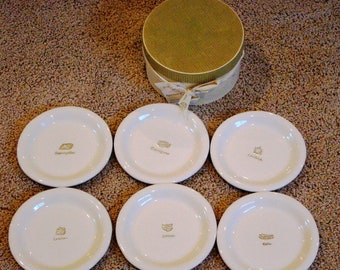 "Vintage Williams Sonoma Appetizer Plates, Set of 6 Cheese Plates in Original Box, Round Serving 6"" Plate, Cheese, Desert, Appetizer, 1990's"