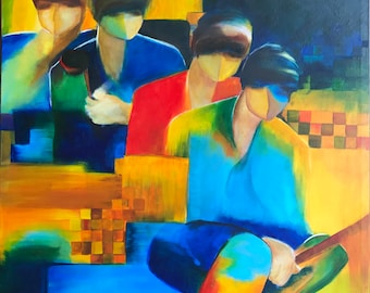 Foursome - Original Abstract Art Abstract Figure Painting Contemporary Portrait Fauvist FIgure Painting by Renowned Artist Piekarczyk