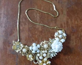 OOAK - Flower Brooch Necklace