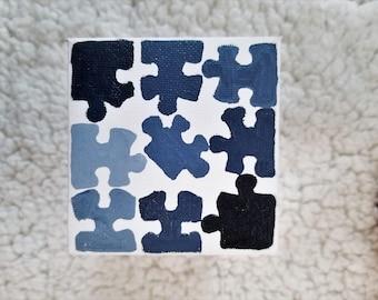 Blue Puzzle Pieces - 3x3 Canvas Painting - Puzzle Art - Puzzle Piece Painting