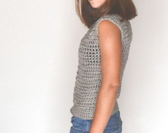 Crochet Boatneck Sweater Open Weave Sheer Evening Blouse Layering Top Gray Small S / Medium M