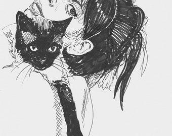 custom portrait + pet sketch // digital file