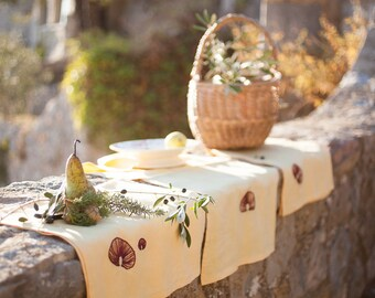 Poppy Tea Towel Set - Burgundy & Soft Green Embroidery on Rose Gold Linen