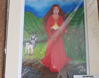 Celtic Goddess Brigid Mounted Print