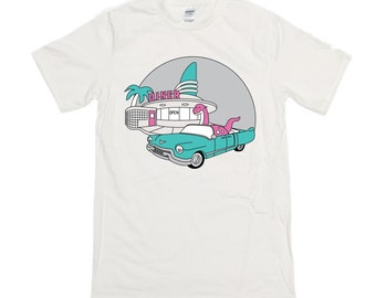 Dinosaur driving a cadillac to the diner screen printed t-shirt in ash grey.  Size S to XXL.  Teal & Pink fun dino design tee. Gifts for him