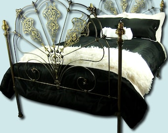 Full Antique Brass and Iron Bed Double Size Shabby Chic Headboard and Footboard, antique cast iron bed, antique brass bed, antique metal