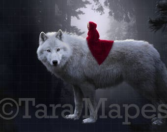 Little Red Riding Hood Riding the Big Bad Wolf Digital Background Backdrop