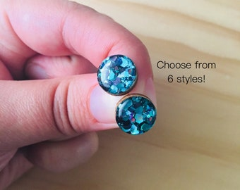 Prom Night Glitter Resin / Wood Stud Earrings • Various Sizes • Surgical Steel • Hypoallergenic • Aqua • Black • Glossy • Statement •