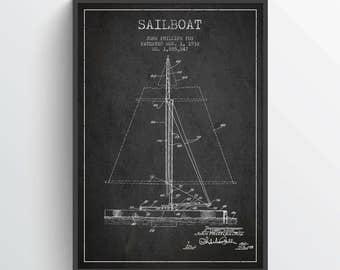 1932 Sailboat Patent Poster, Sailboat Poster, Sailboat Print, Patent Art Print, Patent Print, Blueprint, Home Decor, Gift Idea, NA28P