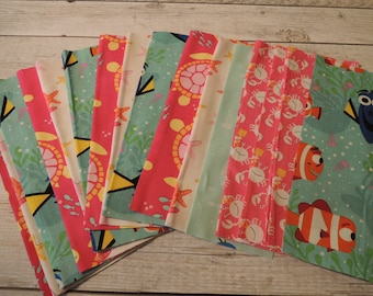 SALE, Fabric Grab Bag, All New Dory, Turtle, Crab Fabrics, 20 pieces, Bag X49