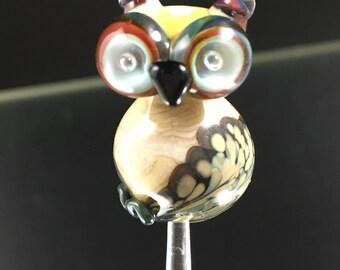 Lampwork owl bead - SRA Lorraine Dowdle