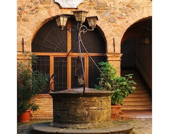 "Fine Art Color Travel Photography of Tuscany - ""Old Well in the Tuscan Hill Town of Montalcino"""