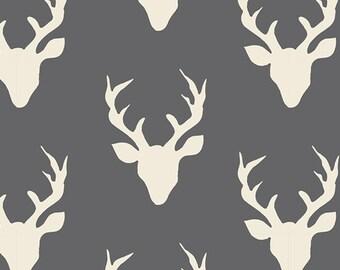 One Yard Hello Bear, Buck Forest Moonstone, Bonnie Christine for Art Gallery Fabrics, Dark Gray Deer Fabric
