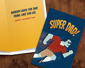 Super Dad!  |  Super Hero themed Printable Father's Day Card with Matching Envelope