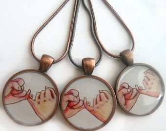 3 best friend necklaces, bridesmaid, pinky swear, pinky promise,  hand painted