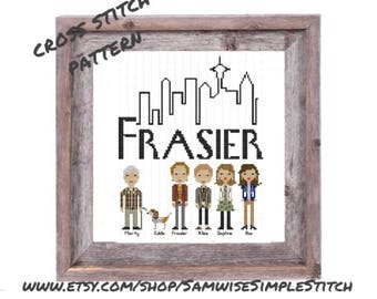 Frasier funny cast cross stitch PATTERN PDF