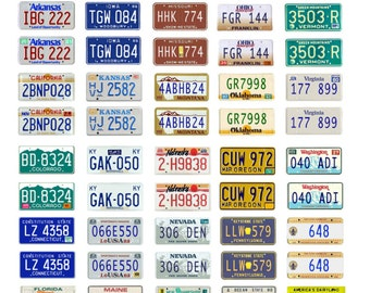 scale model car assorted USA license plates state tags 1980s 2000s