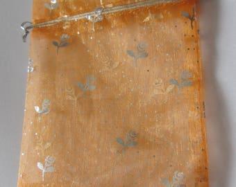 orange organza gift bag pouch floral 12 x 10 cm