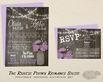 Printable Rustic Wedding Invitation, Mason Jar Wedding Invitation, Country Spring Wedding Invite, Purple, Lavender Peony & String Lights