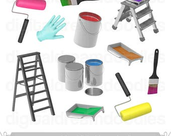 Paint Clipart, Painting Clipart, Paint Can Image, Paint Bucket Graphic, Paint Roller PNG, Paint Brush Scrapbook, Paint Tray Digital Download