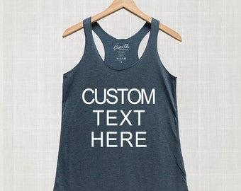 Custom Text Personalized Tank Top, Workout, Gym, Eco-Friendly Ink, Women Graphic Tee, Personalized Gift, Text Tank Top, Make Your Own Shirt