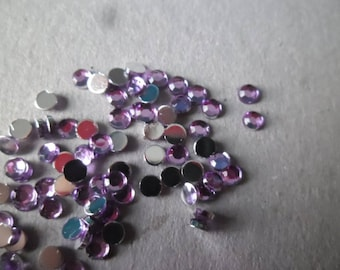 x 100 faceted purple paste rhinestones 3 mm acrylic