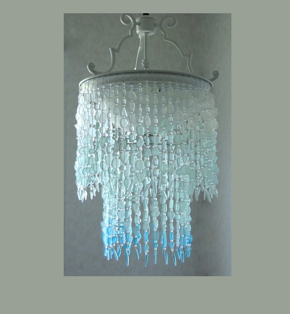 Sea Glass Chandelier Lighting Fixture Coastal Decor Blue Ombre