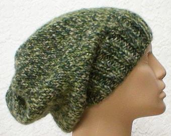 Green tweed slouchy hat, toque, winter hat, green hat, mens womens hat, green knit hat, ski toboggan, hiking biker hat, green slouchy hat