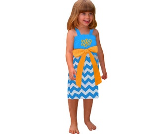 Light Blue + Bright Gold Chevron Dress