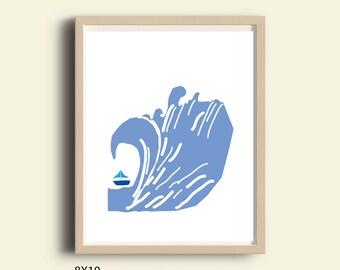 Boys room decor, printable boy room decor, boys room decor art, boys art print, boys room decor, boys nautical art, blue , instant download