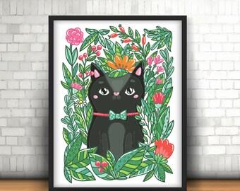 Garden Cat A4 Art Print