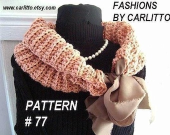 crochet scarf pattern, num77. COWL, Scarf or Shawl Crochet Pattern ...make it any size, instant download